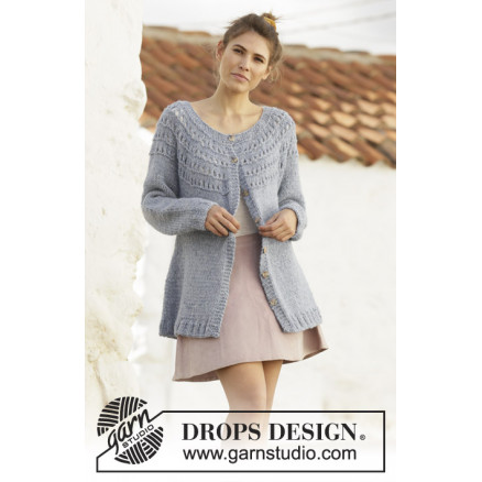 April Showers Jacket by DROPS Design - Jakke Strikkeopskrift str. S - thumbnail