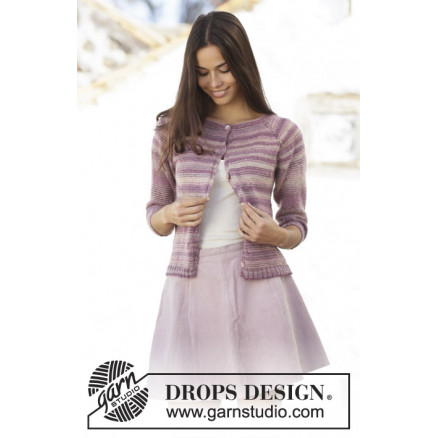 Summer Berries Jacket by DROPS Design - Jakke Strikkeopskrift str. S - thumbnail