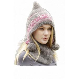 Sweet Winter Hat by DROPS Design - Hue og hals strikkeopskrift str. S/M - L/XL