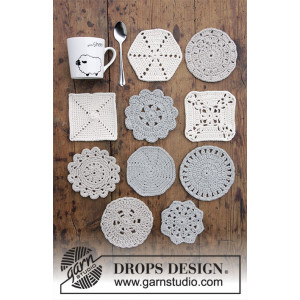 Bright Side Coasters by DROPS Design - Bordskånere Hækleopskrift 10-12 cm