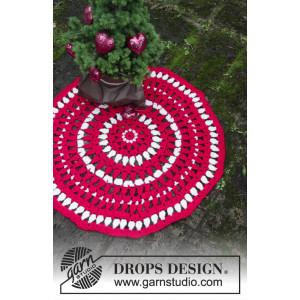Christmas Circle by DROPS Design - Gulvtæppe Hækleopskrift Ø82 cm