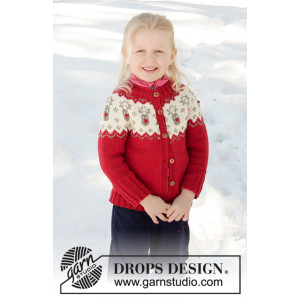 Little Red Nose Jacket by DROPS Design - Jakke Strikkeopskrift str. 12 mdr-12 år
