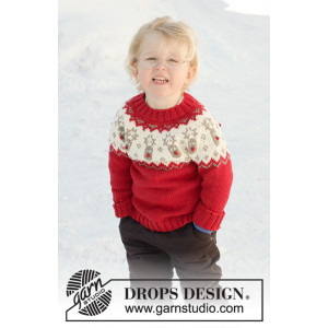 Little Red Nose by DROPS Design - Bluse Strikkeopskrift str. 12 mdr-12 år