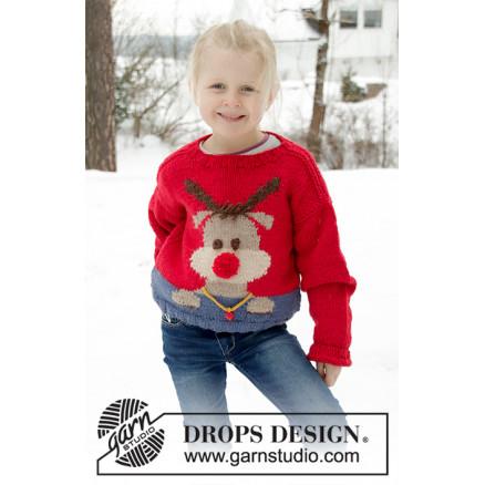 Red Nose Jumper Kids by DROPS Design - Bluse Strikkeopskrift str. 2-12 thumbnail