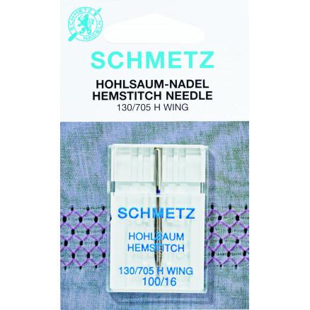 Image of   Schmetz Symaskinenåle Wing / Hemstitch 130/705H Str. 100 - 1 stk