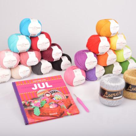 Image of   Julehækling Garnpakke med bogen Fin & farverig Jul du selv kan hækle a