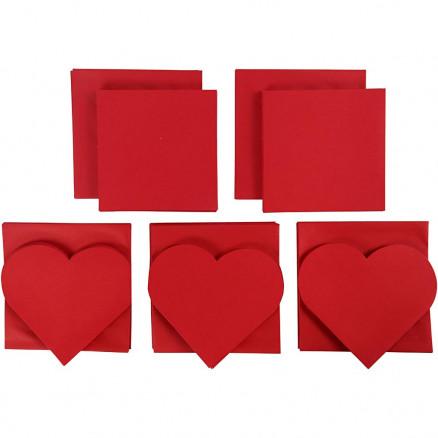 Image of   Brevkort, kort str. 10,5-15 cm, kuvert str. 11,5-16,5 cm, rød, 50sæt