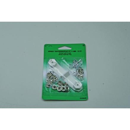 Jersey Trykknapper Ring 11mm Sølv - 12 sæt thumbnail