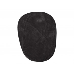 Albuelapper Imiteret Ruskind Oval Mørkegrå 10x15 cm - 2 stk