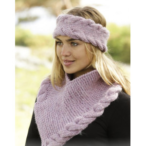 Braided Warmth by DROPS Design - Pandebånd og Hals Strikkeopskrift S/M - M/L