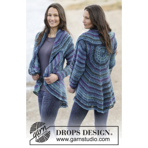 Gypsy Blue by DROPS Design - Jakke Hækleopskrift str. S - XXXL