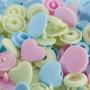 Prym Love Color Snaps Trykknapper Plast Hjerte 12,4mm Ass. Pink/Blå/Grøn - 30 stk