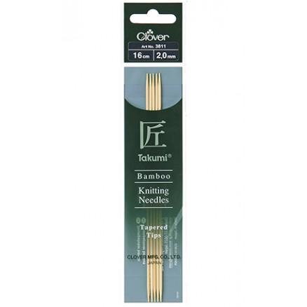 Image of   Clover Takumi Strikkepinde Bambus 16cm 2,00mm