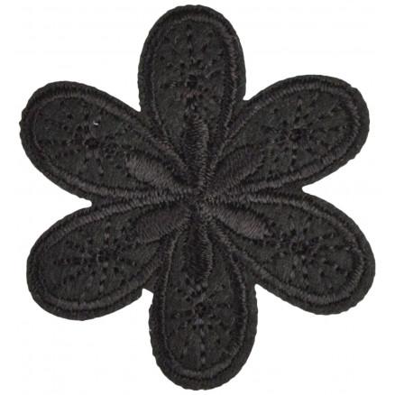 Image of   Strygemærke Blomst Sort 4,5x4cm