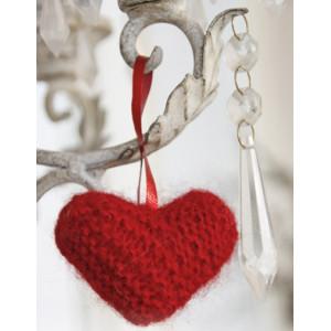 Sweet heart by DROPS Design - Julehjerte Julepynt Strikkeopskrift 5 cm
