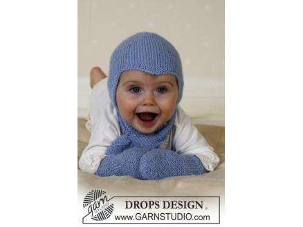Billede af Baby Aviator Hat by DROPS Design - Djævlehue, Halstørklæde og Vanter S
