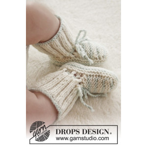First Impression Booties by DROPS Design - Baby Tøfler Strikkeopskrift str. præmatur - 3/4 år