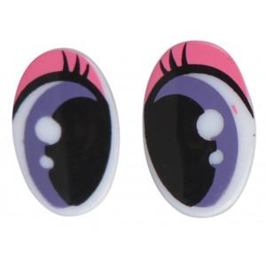 Sjove Sikkerhedsøjne med makeup 25x16 mm - 1 sæt