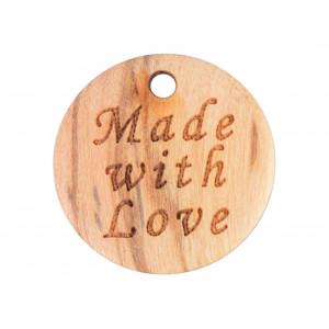 Label Træ Made with Love 1,8cm