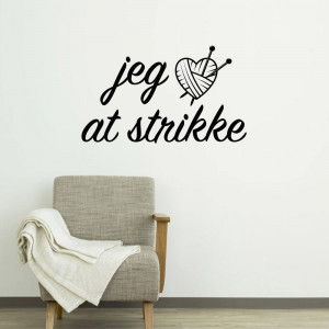 Wallsticker Jeg ❤ at strikke 55x92 cm