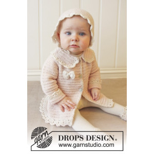 Little Lady Rose by DROPS Design - Baby Jakke Hækleopskrift str. 0/1 mdr - 3/4 år