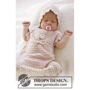 Beth by DROPS Design - Baby Kjole Hækleopskrift str. 0/1 mdr - 3/4 år
