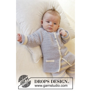 Heartthrob by DROPS Design - Baby Jakke Hækleopskrift str. 1/3 mdr - 3/4 år