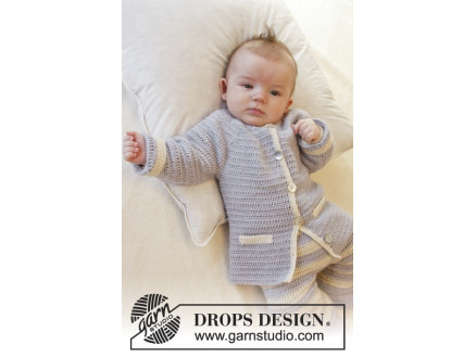 Heartthrob by DROPS Design - Baby Jakke Hækleopskrift str. 1/3 mdr - 3 thumbnail