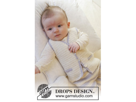 Heartthrob Vest by DROPS Design - Baby Vest Hækleopskrift str. 1/3 mdr thumbnail