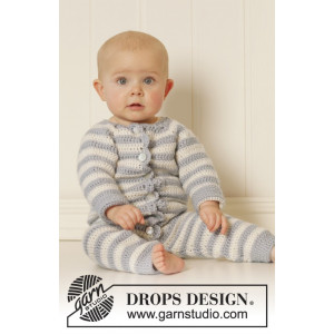 Baby Blues by DROPS Design - Baby heldragt Hækleopskrift str. 0/1 mdr - 3/4 år