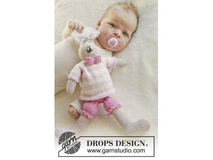 Image of   Mrs. Bunny by DROPS Design - Baby Bamse Strikkeopskrift