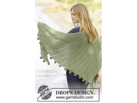 Valley Girl by DROPS Design - Sjal med pomponer Strikkeopskrift thumbnail