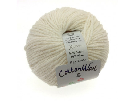 Gepard Garn Cottonwool 5 Unicolor 101 Råhvid
