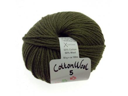 Gepard Garn Cottonwool 5 Unicolor 870 Oliven Grøn