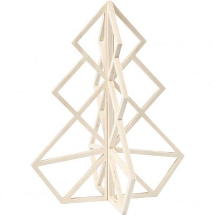 3D Juletræ, H: 40 cm, B: 32 cm, krydsfiner, 1stk. thumbnail