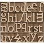 Bogstaver af træ, inkl. gratis trædisplay, H: 8 cm, tykkelse 2 cm, MDF, 112stk.