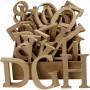 Bogstaver, tal og symboler af træ, inkl. gratis trædisplay, H: 8 cm, tykkelse 1,5 cm, MDF, 240stk.
