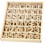 Bogstaver og tal, H: 4 cm, tykkelse 2,5 mm, MDF, 288stk.