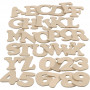 Bogstaver og tal, 3600 stk., H: 4 cm, tykkelse 2,5 mm, MDF, 36x10pk.