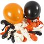 Balloner, diam. 23-26 cm, hvid, orange, sort, runde, 100ass.