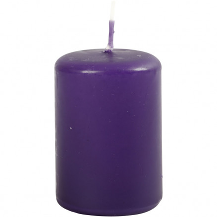 Bloklys, diam. 40 mm, H: 60 mm, mørk lilla, 12stk. thumbnail