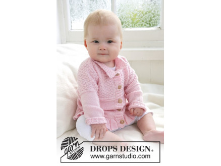 Image of   Lea by DROPS Design - Baby Jakke Strikkeopskrift str. 1/3 mdr - 3/4 år