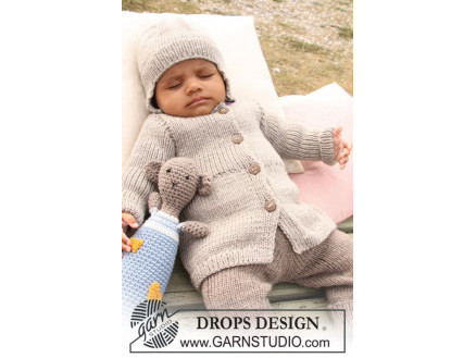 Image of   Samuel Jakke by DROPS Design - Baby Jakke Strikkeopskrift str. 1/3 mdr