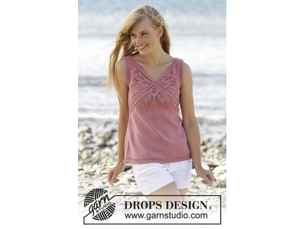 Image of   Butterfly Heart Top by DROPS Design - Top Strikkeopskrift str. S - XXX