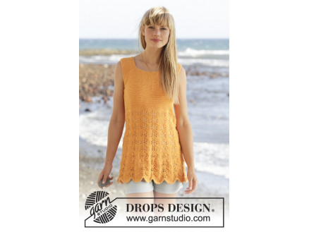 Sunkissed by DROPS Design - Top Strikkeopskrift str. S - XXXL thumbnail