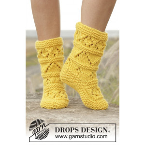 Lemon Twist by DROPS Design - Tøfler Strikkeopskrift str. 35/37 - 40/42