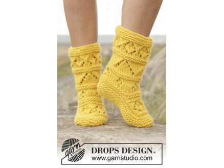 Image of   Lemon Twist by DROPS Design - Tøfler Strikkeopskrift str. 35/37 - 40/4
