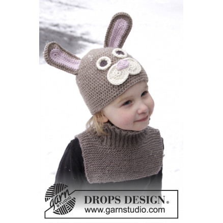 Honey Bunny by DROPS Design - Påskehare hue Hækleopskrift str. 1-8 år thumbnail