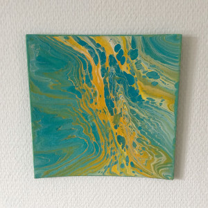 Acrylic Pouring af Rito Krea - Pouring Painting 20x20 cm