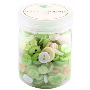 Go handmade Assorterede knapper Grøn 100 g
